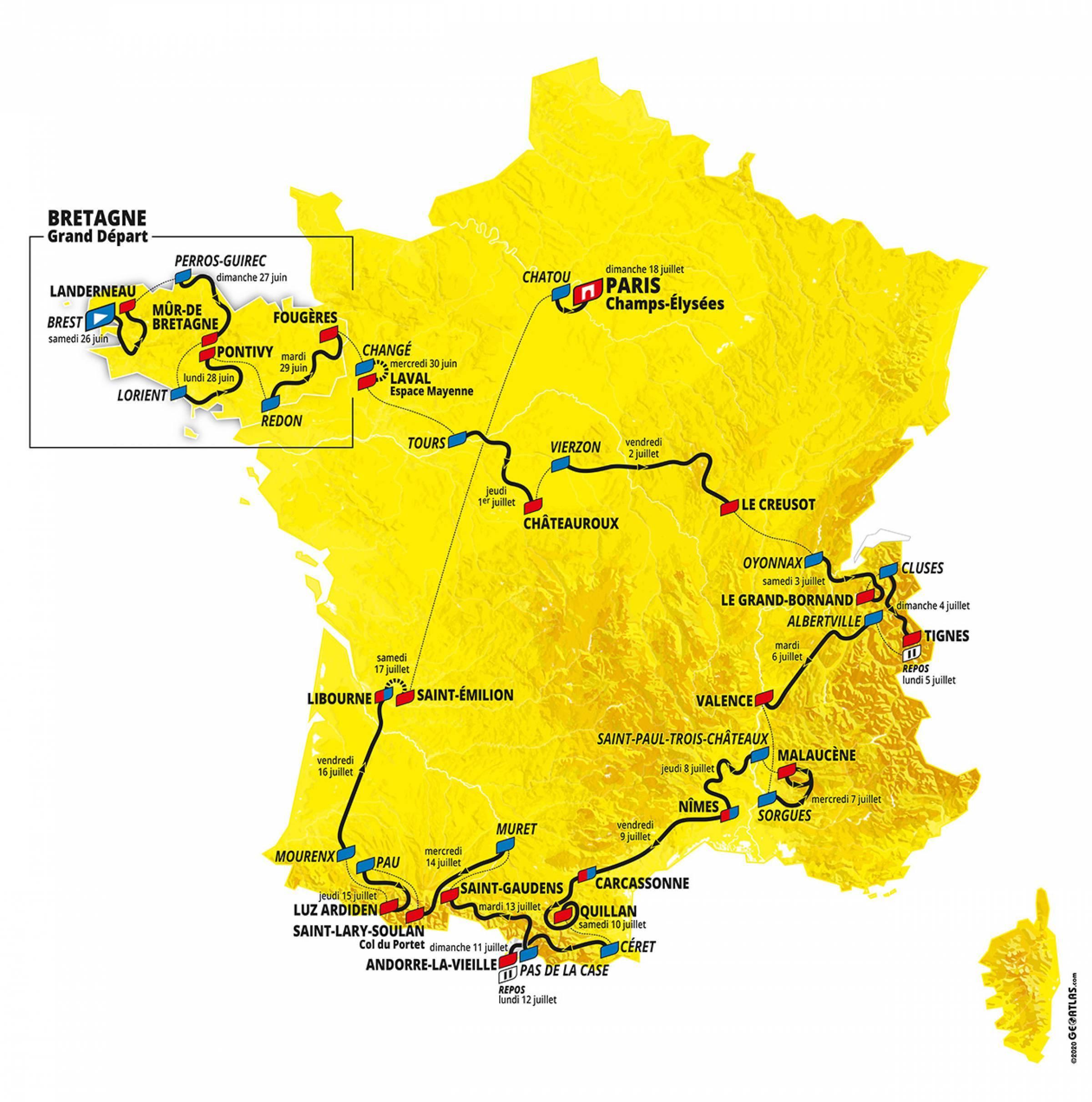 2021 Tour de France route Map